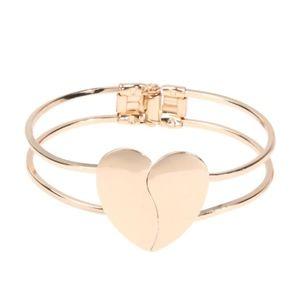 Gold Double Heart Bangle Cuff Bracelet